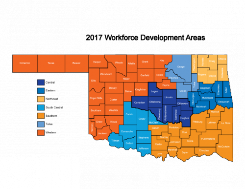 map of 2017 workforce development areas